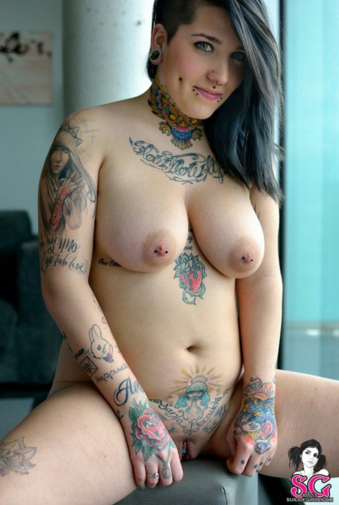 sexy nude girls with chest tattoos